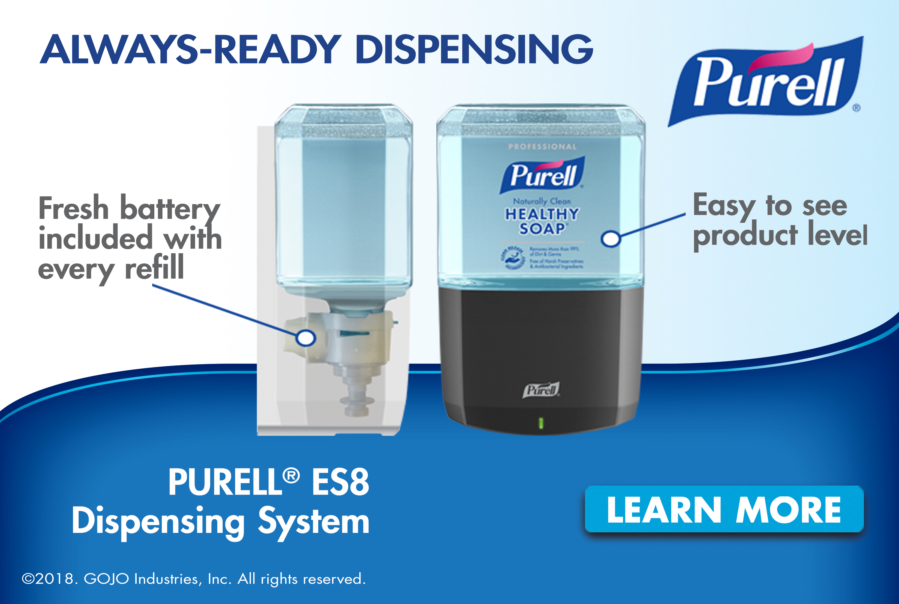 Purell ES8 soap and sanitizer dispensers
